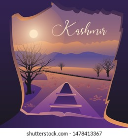 Kashmir Valley A view inside the famous boats and Lakes of Kashmir Valley Vector Landscape of Kashmir Background