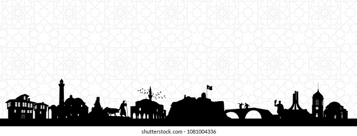 Kastamonu historical places silhouette vector