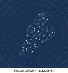 Kastellorizo network, constellation style island map. Uncommon space style, modern design. Kastellorizo network map for infographics or presentation.