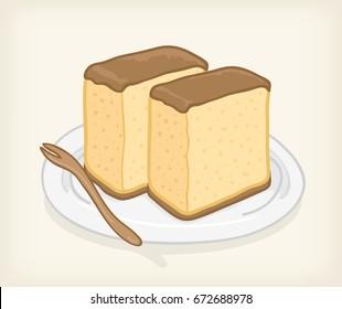 kasutera cake vector