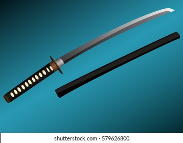 Katana samurai sword graphic vector
