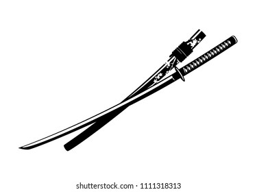 katana sword with cherry blossom decorated scabbard - traditional japanese weapon monochrome vector design