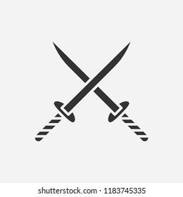 Katana sword icon illustration, vector samurai sign symbol