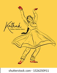 Kathak the indian classical dance sketch or vector illustration