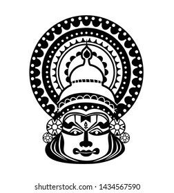 Kathakali face with Hand Drawn Sketch Vector illustration