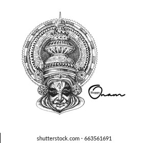 Kathakali face with heavy crown decorated, Hand Drawn Sketch Vector illustration.