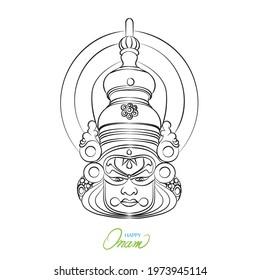 kathakali face outline vector Illustration