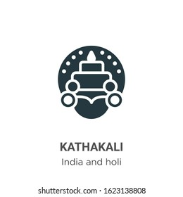 Kathakali glyph icon vector on white background. Flat vector kathakali icon symbol sign from modern india collection for mobile concept and web apps design.