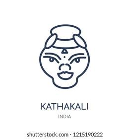 Kathakali icon. Kathakali linear symbol design from India collection. Simple outline element vector illustration on white background.