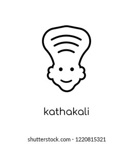 Kathakali icon. Trendy modern flat linear vector Kathakali icon on white background from thin line india collection, editable outline stroke vector illustration