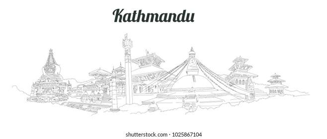 KATHMANDU city panoramic vector hand drawing artwork