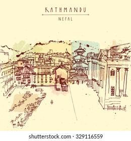 Kathmandu, Nepal, Asia. Hand drawn postcard. Basantapur Durbar square, house of Kumari, Old Royal Palace Hanuman Dhoka and a market before earthquake. Travel sketch. Vector hand drawing