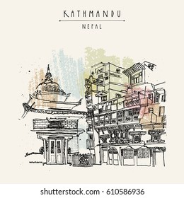 Kathmandu, Nepal, Asia. Hindu shrine and old historic wooden residential house. Travel sketch. Hand drawn vintage postcard, poster template or book illustration in vector