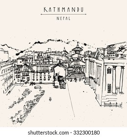 Kathmandu, Nepal, Asia. Vector hand drawn postcard. Basantapur Durbar square, house of Kumari, Old Royal Palace Hanuman Dhoka and a flea market. Travel sketch on Nepalese paper. Hand drawing
