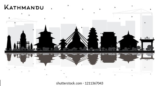 Kathmandu Nepal City Skyline Silhouette with Black Buildings and Reflections. Vector Illustration. Business Travel and Tourism Concept with Historic Architecture. Kathmandu Cityscape with Landmarks.