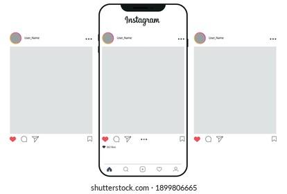 Kathmandu, Nepal - January, 22,2021: Instagram post template on apple iPhone vector illustration. Perfect social media post-frame illustration. Premium quality.Instagram Post mockup. Three posts.