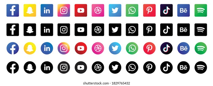 Kathmandu, Nepal - October 8, 2020 - Set of Social media icon in vector. Different shapes and color