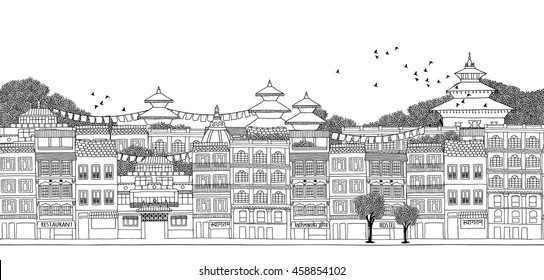 Kathmandu, Nepal - seamless banner of the city's skyline, hand drawn black and white illustration