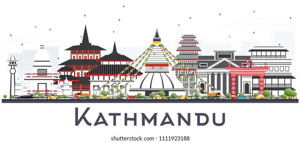 Kathmandu Nepal Skyline with Gray Buildings Isolated on White. Vector Illustration. Business Travel and Tourism Concept with Historic Architecture. Kathmandu Cityscape with Landmarks.