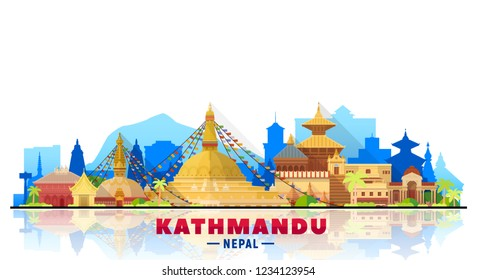 Kathmandu Nepal skyline with panorama in white background. Vector Illustration. Business travel and tourism concept with modern buildings. Image for banner or web site.