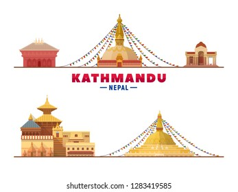 Kathmandu Nepal top landmark at white background. Vector Illustration. Business travel and tourism concept with modern buildings. Image for banner or web site.