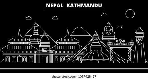 Kathmandu silhouette skyline. Nepal - Kathmandu vector city, nepalese linear architecture, buildings. Kathmandu travel illustration, outline landmarks. Nepal flat icon, nepalese line banner