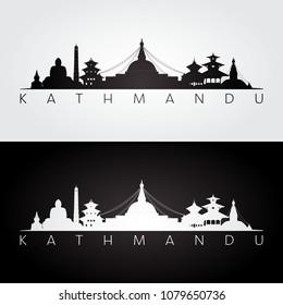 Kathmandu skyline and landmarks silhouette, black and white design, vector illustration.