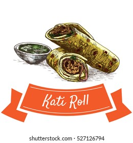 Kati Roll colorful illustration. Vector illustration of Indian cuisine.