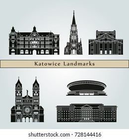 Katowice landmarks and monuments isolated on blue background in editable vector file