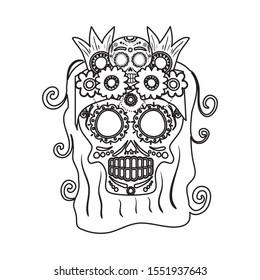 katrina skull with floral hair decoration comic character vector illustration design