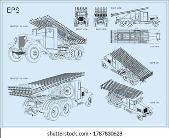 The Katyusha multiple rocket launcher. Installation on the basis of the three axle truck. Soviet field artillery. Vector EPS8