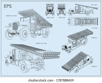 The Katyusha multiple rocket launcher. Installation on the basis of the two axle truck. Soviet field artillery. Vector EPS8