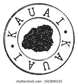 Kauai Hawaii Stamp Postal. Map Silhouette Seal. Passport Round Design. Vector Icon. Design Retro Travel.