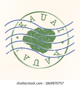 Kauai, Hawaii, USA Stamp Postal. Map Silhouette Seal. Passport Round Design. Vector Icon. Design Retro Travel.