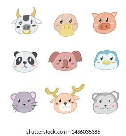 Kawaii Animal Faces Set. Hand drawn Vector illustration