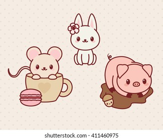 Kawaii animals set, part 1. Vector illustration of cute animals. Mouse, bunny/rabbit, pig.