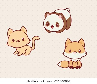 Image of: Animals Stickers Kawaii Animals Set Part 2 Vector Illustration Of Cute Animals Kitten Panda Shutterstock Kawaii Animals Images Stock Photos Vectors Shutterstock