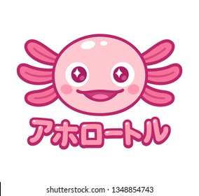 Kawaii axolotl face with Japanese name for Axolotl. Cute animal drawing, funny cartoon illustration. Anime style design.