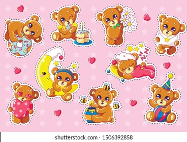 Kawaii Bears Characters Set Flat Cartoon Vector Illustration. Hugging Donut, Having Birthday Cake with Candle, Holding Flowers, Sleeping on Pillow, Eating Honey, Holding Heart and Envelope.