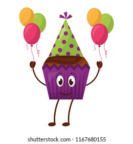 kawaii bithday cupcake with party hat and balloons