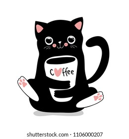 Kawaii black cat with coffee cup. Cute vector illustration