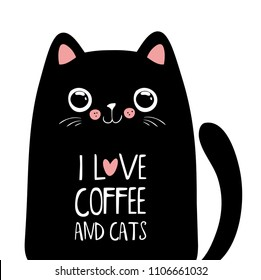 Kawaii black cat with coffee lettering