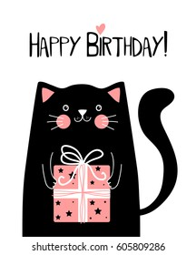 Kawaii black cat with gift box and lettering happy birthday , vector illustration