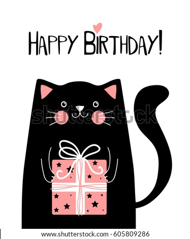 Kawaii Black Cat With Gift Box And Lettering Happy Birthday Vector Illustration