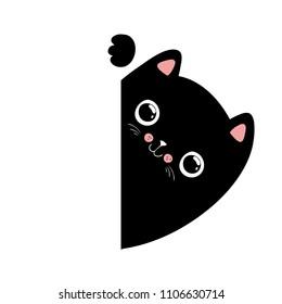 Kawaii black cat illustration, your text here, vector EPS10