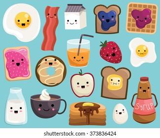 Kawaii Breakfast Food Cute Vector Set