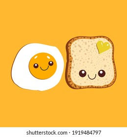 Kawaii breakfast. Slice of bread and fried egg isolated on yellow background. Vector illustration.