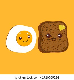 Kawaii breakfast. Slice of bread and fried egg isolated on yellow background. Vector illustration. - Shutterstock ID 1920789524