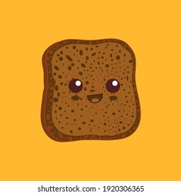 Kawaii breakfast. Slice of bread isolated on yellow background. Vector illustration.