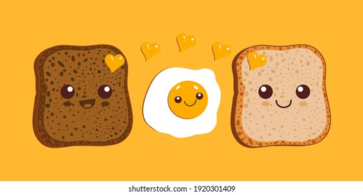 Kawaii breakfast. Slices of bread and fried egg isolated on yellow background. Vector illustration. - Shutterstock ID 1920301409